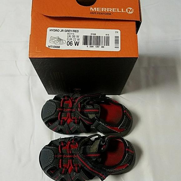 4ffc8f1f4131 Merrell Hydro Jr grey red sandals sz 6W. M 5a75edd331a376aaab1ebd72